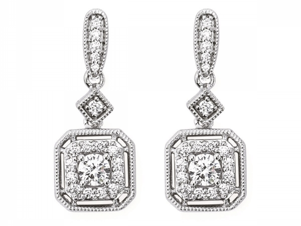 Earrings - Diamond Halo Cusion Earrings